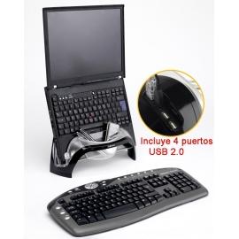 Soporte portátil con 4 puertos USB 2.0 Smart Suites