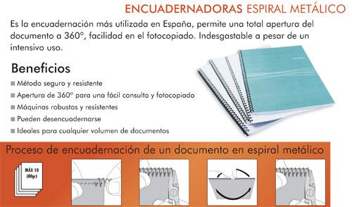 proceso de encuadernación de un documento en espiral metálico